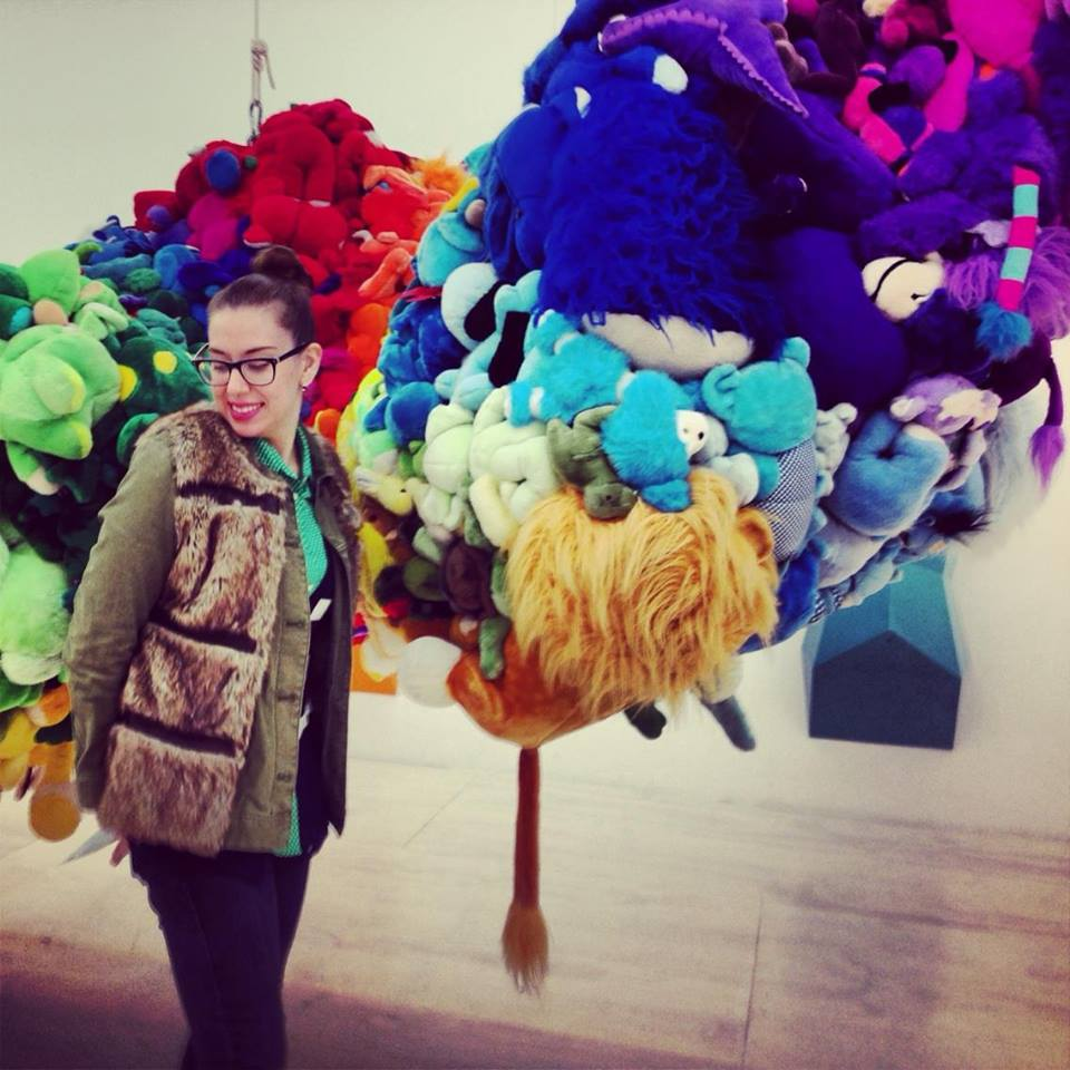 Mike Kelley. Deodorized Central Mass with Satellites. 1991/1999. Plush toys sewn over wood and wire frames with styrofoam packing material, nylon rope, pulleys, steel hardware and hanging plates, fiberglass, car paint, and disinfectant.