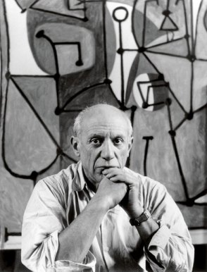 "Picasso in front of ""The Kitchen"" (Nov. 9, 1949)."