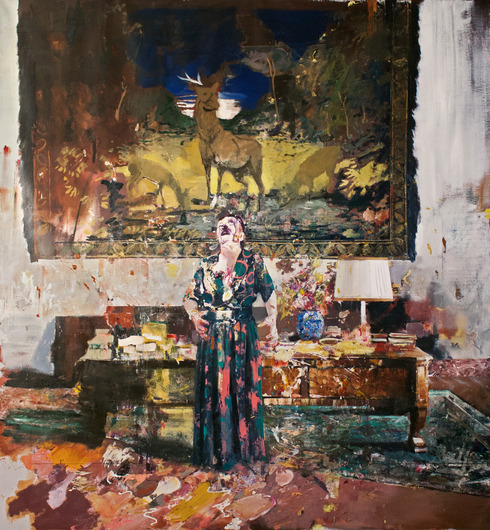 "Adrian Ghenie, ""Pie Fight Interior 8"" (2012); 119"" x 110"""