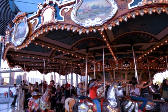 carousel rides at Jane's Carousel in Brooklyn Bridge Park