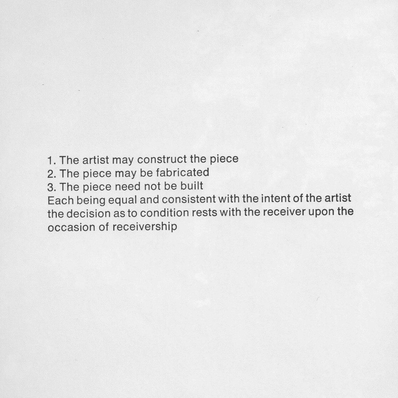 "Lawrence Weiner, ""An Accumulation of Information from Here to There,"" (1969), exhibited in ""Software: Information Technology: Its New Meaning for Art,"" curated by Jack Burnham at the Jewish Museum in 1970."