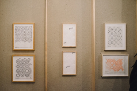 Installation view, Ryan Blackwell, Paper Towel drawings, 2014