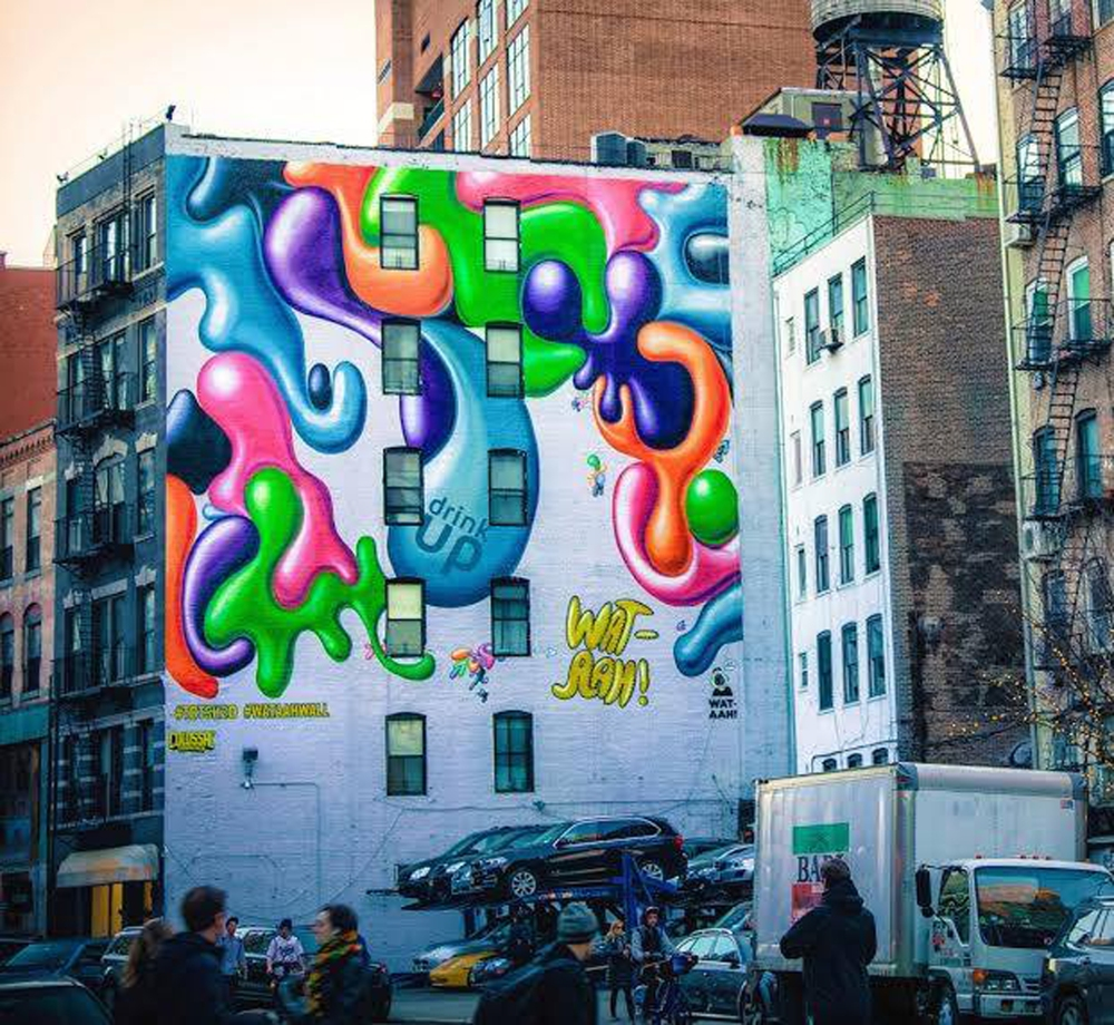 Kenny Scharf WAT-AHH! mural located in SoHo, NYC