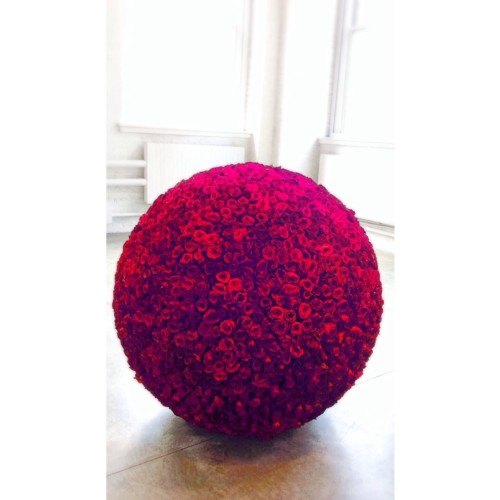"James Lee Byars, ""Rose Table of Perfect"" (1989), 3,333 roses and a polystyrene ball"